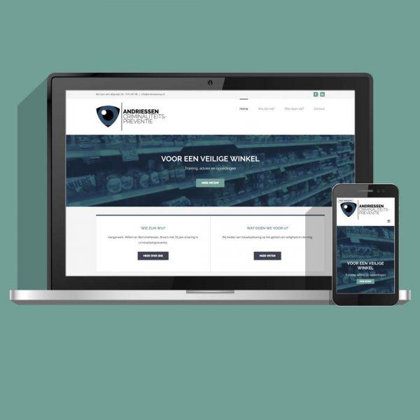 Voordelige website, ontwerp en ontwikkeling voor Andriessen Criminaliteitspreventie