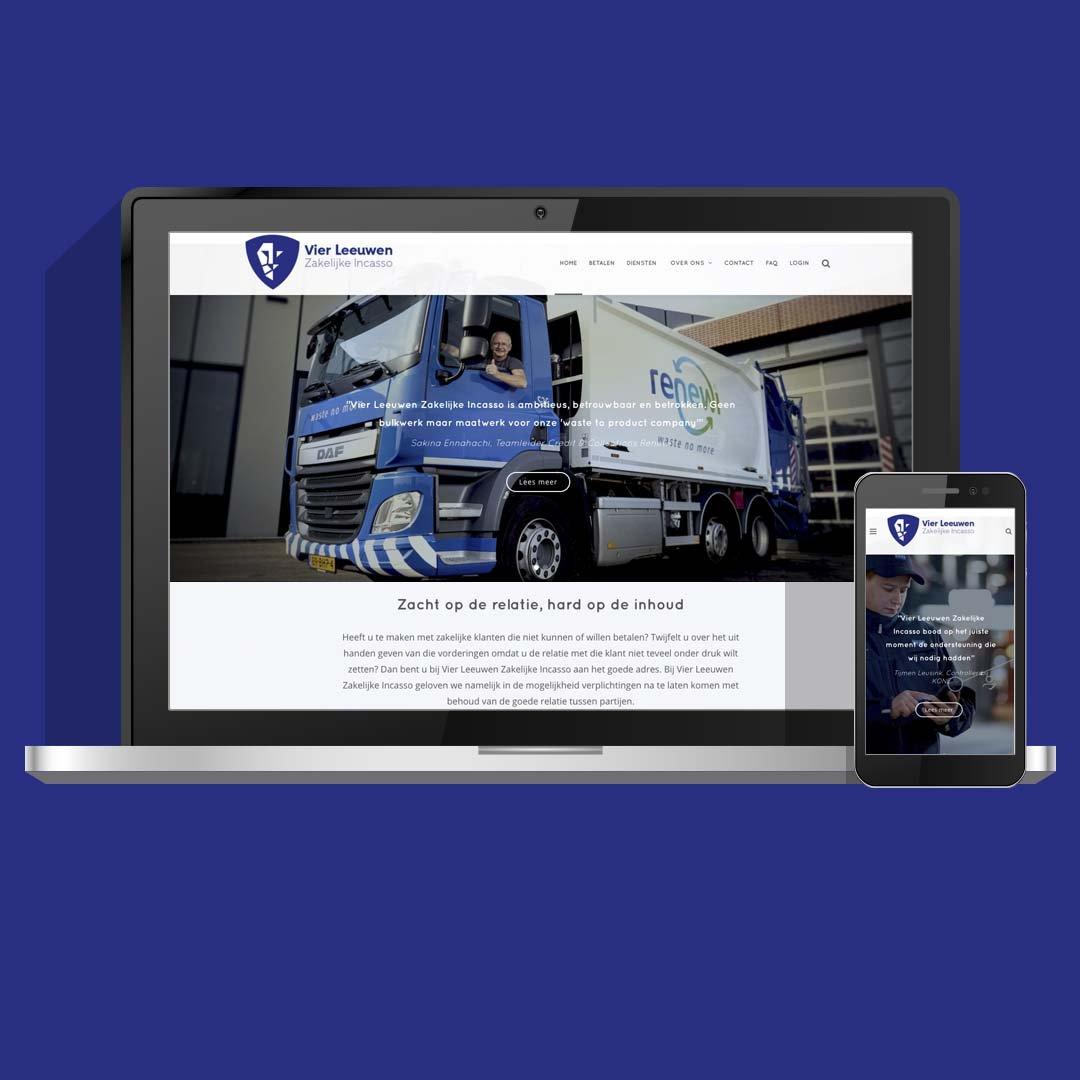 Huisstijl en website ontwikkeling voor Vier Leeuwen Incasso