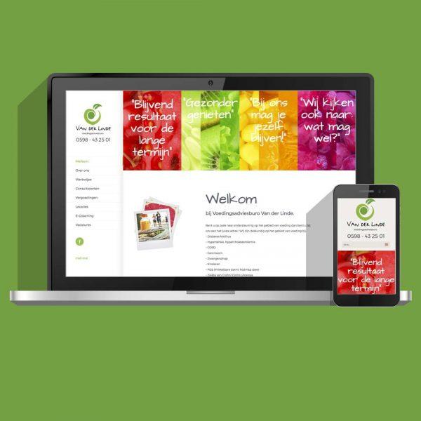 WordPress website, ontwerp en ontwikkeling voor Voedingsburo van der Linde