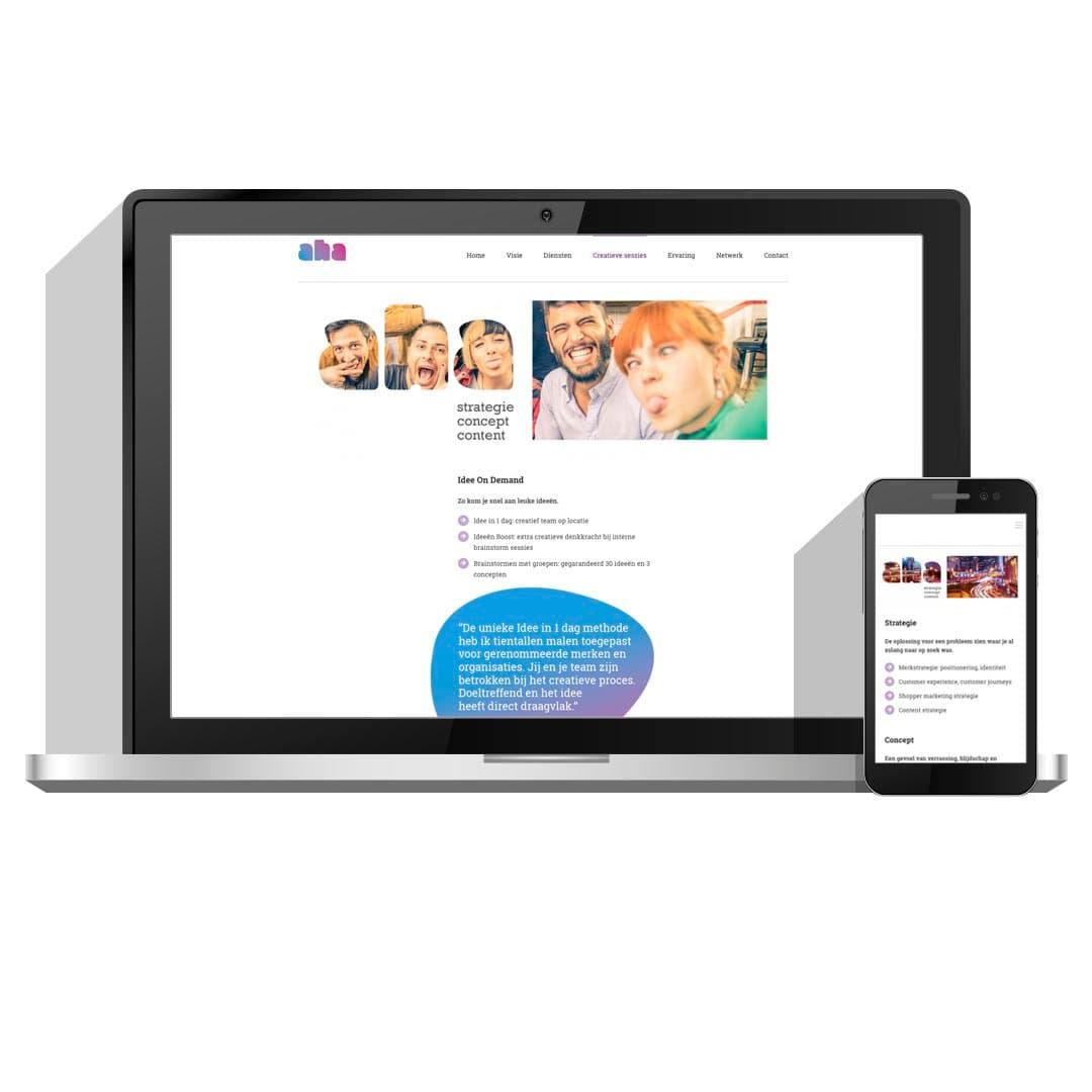 Website ontwerp en ontwikkeling voor Aha Creative