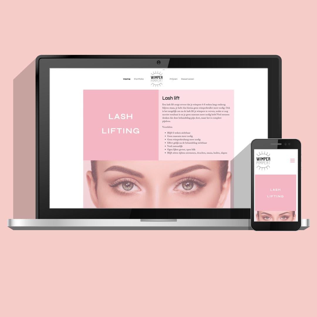 Website voor jonge ondernemer | Wimperpimpert